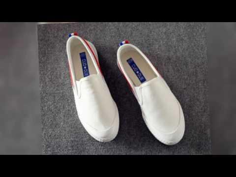 【益本萬利】藍白紅 黃綠 條紋 無鞋帶 全白VANS風格 帆布鞋