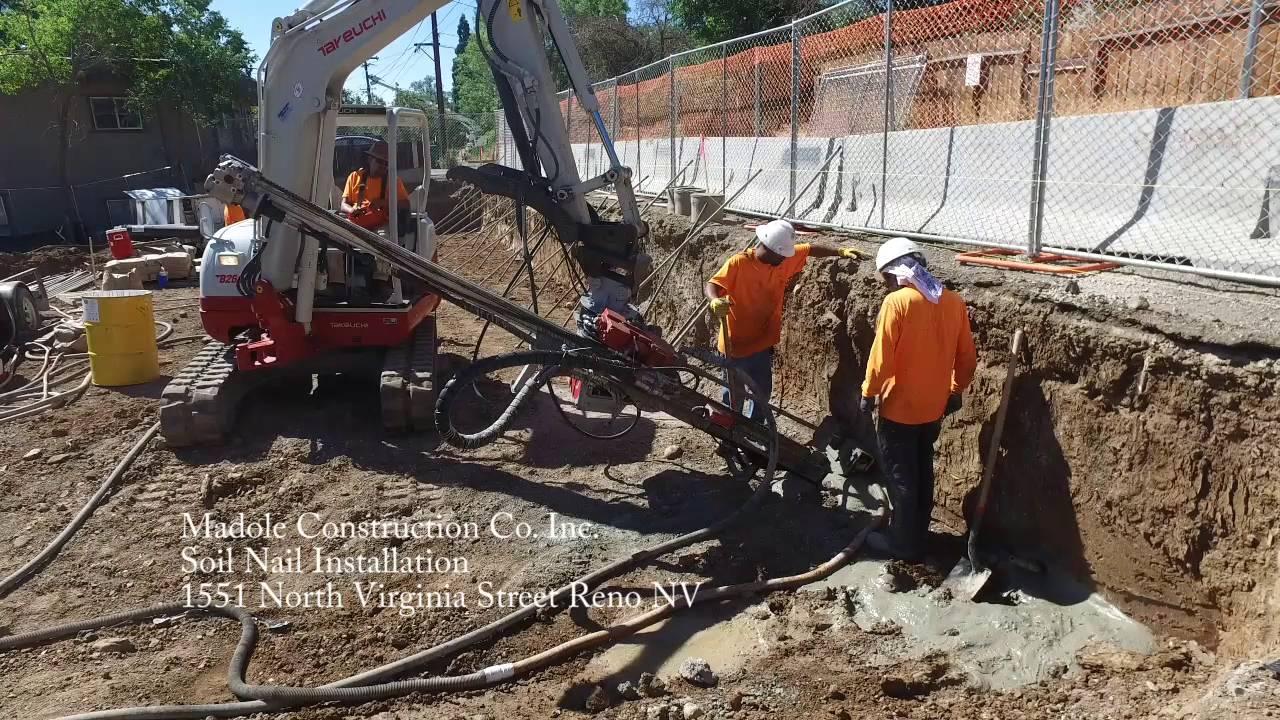 Soil Nail Installation : Soil nail installation for retention at the reno
