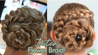 One of Cute Girls Hairstyles's most viewed videos: Dutch Flower Braid | Updos | Cute Girls Hairstyles
