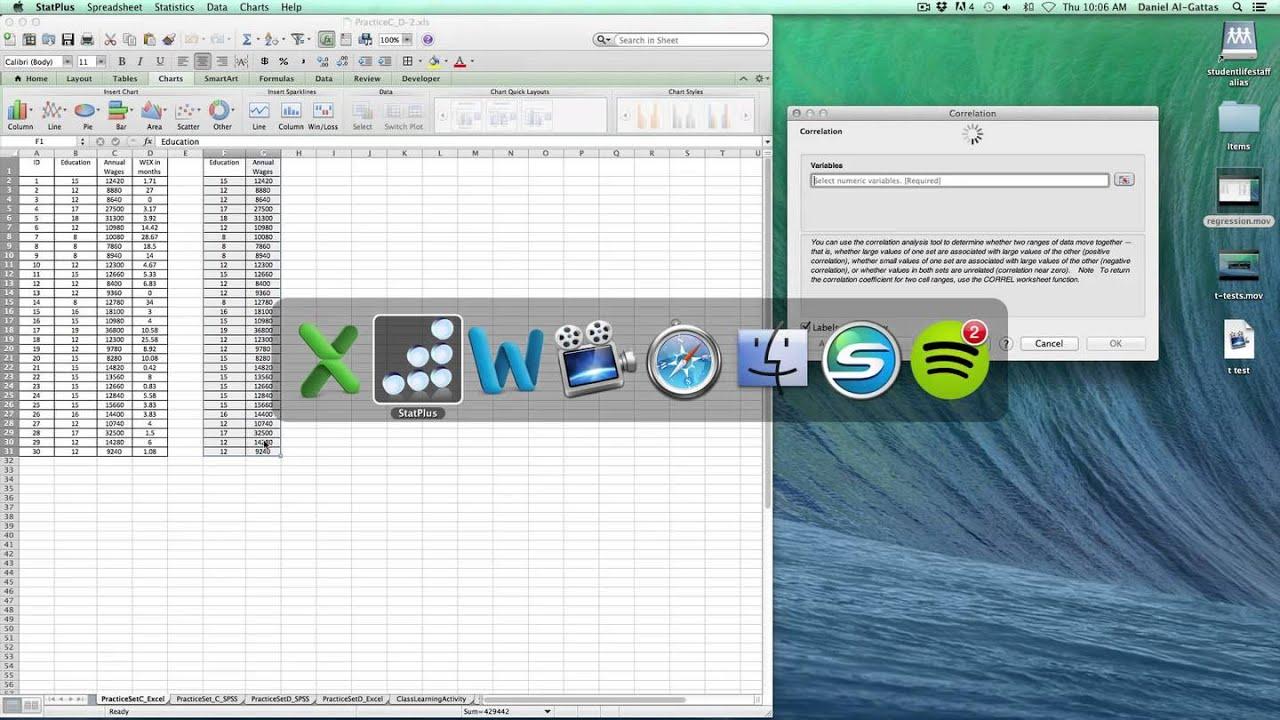 Pearson\'s Correlation Coefficient using Excel:Mac & StatPlus:Mac ...
