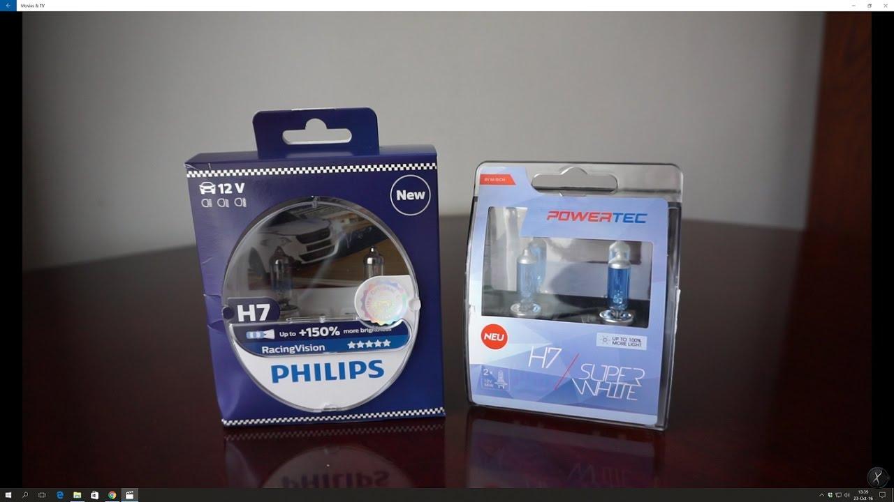 philips racing vision vs m tech powertec superwhite youtube. Black Bedroom Furniture Sets. Home Design Ideas