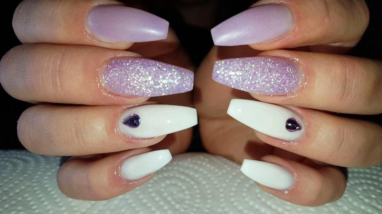 Soft Lavender Kiss ❤ Long Coffin Shaped Acrylic Nails - YouTube