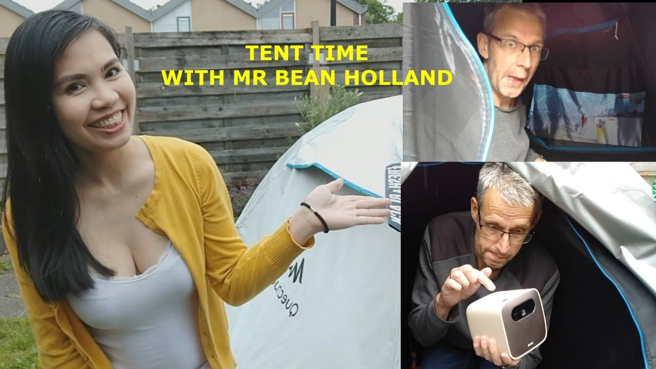 Tent time with Mr bean Holland | BENQ GS2 Projector in tent