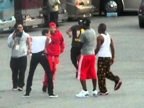 Chris Brown and friends playing around.