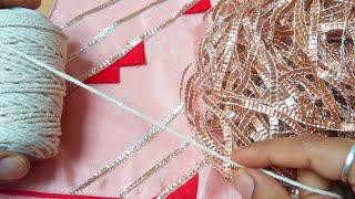 Gotta lace, dori pipin और patches  से बनाए सुंदर गले का design ,plain kurti pe