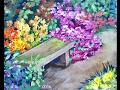 Park Bench Among the Flower Beds - Beginners Acrylic Painting Tutorial with Ginger Cook