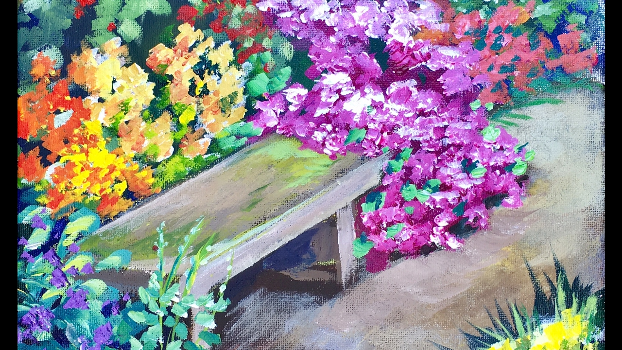 Park Bench Among The Flower Beds Beginners Acrylic