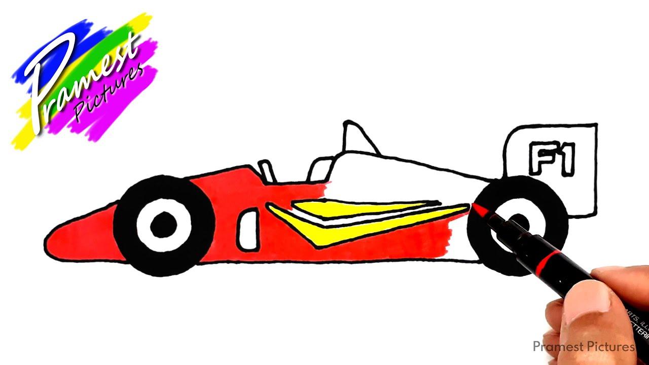 Mobil Balap F1 Cara Menggambar Dan Mewarnai Gambar Untuk Anak Youtube