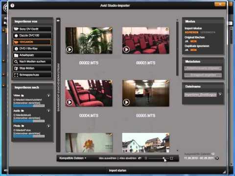 Importieren von Speicherkamera in Avid studio und Pinnacle Studio