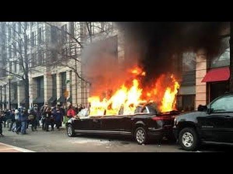 Washington Anti President Trump - Protesters Burn Limo Car & Fighting Police (COMPILATION)