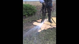 Pressure Washing Limestone Path-Way
