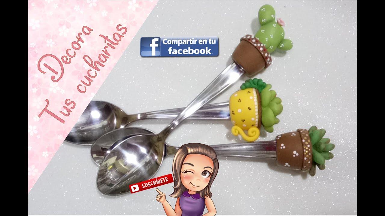 cucharitas decoradas en porcelana fría// biscuit //Beasaravia 26 de mayo