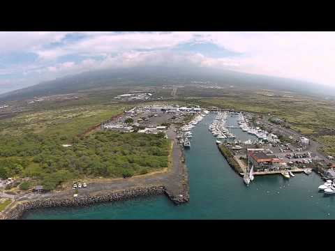 Drone Flying Over Honokahua Harbor & Marina, Kona, Big Island, Hawaii - DJI Phantom 2 Vision+