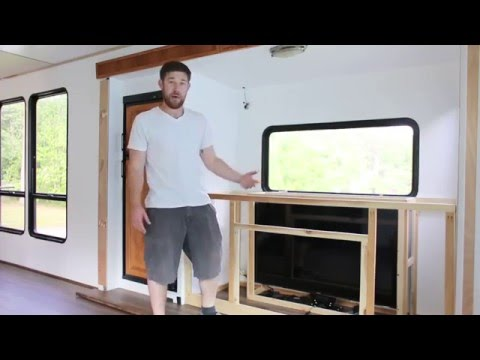 RV Media Cabinet with TV Lift in Mid-Construction