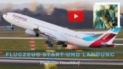 Flugzeug Start und Flugzeug Landung auf Flughafen Düsseldorf