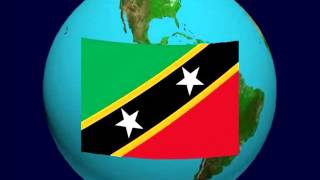 Saint Kitts and Nevis Flag on the Earth