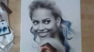 Speed Drawing Drybrush video of Beyonce