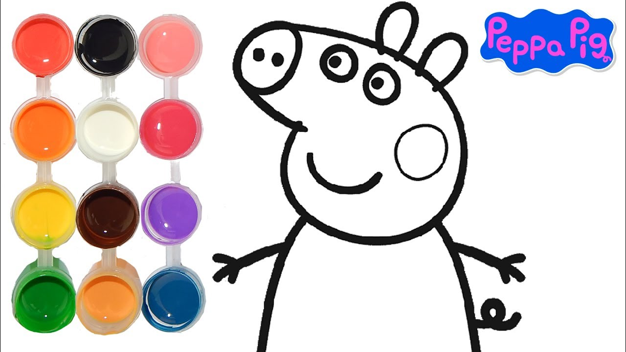 How To Draw Color A Peppa Pig Cartoon Drawing On New Learning 4 Kids Toddlers Learn Colors Youtube