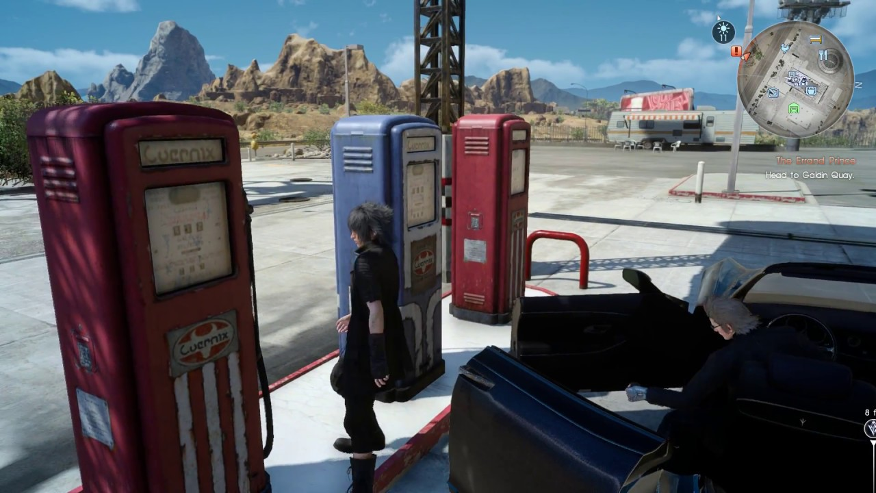 Image result for final fantasy xv car gas station stop