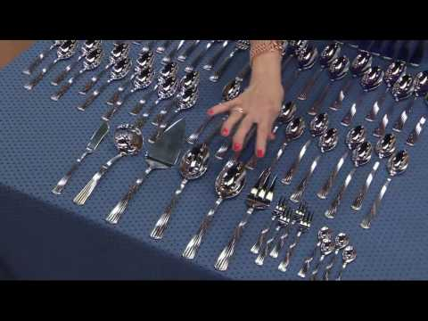 Reed & Barton 18/10 Stainless Steel 86-Piece Service for 12 Flatware Set on QVC
