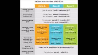 vacances scolaires  2017 - 2018