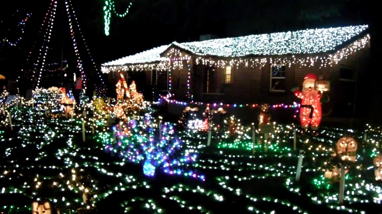 normal followed by slow motion of christmas lights flicker