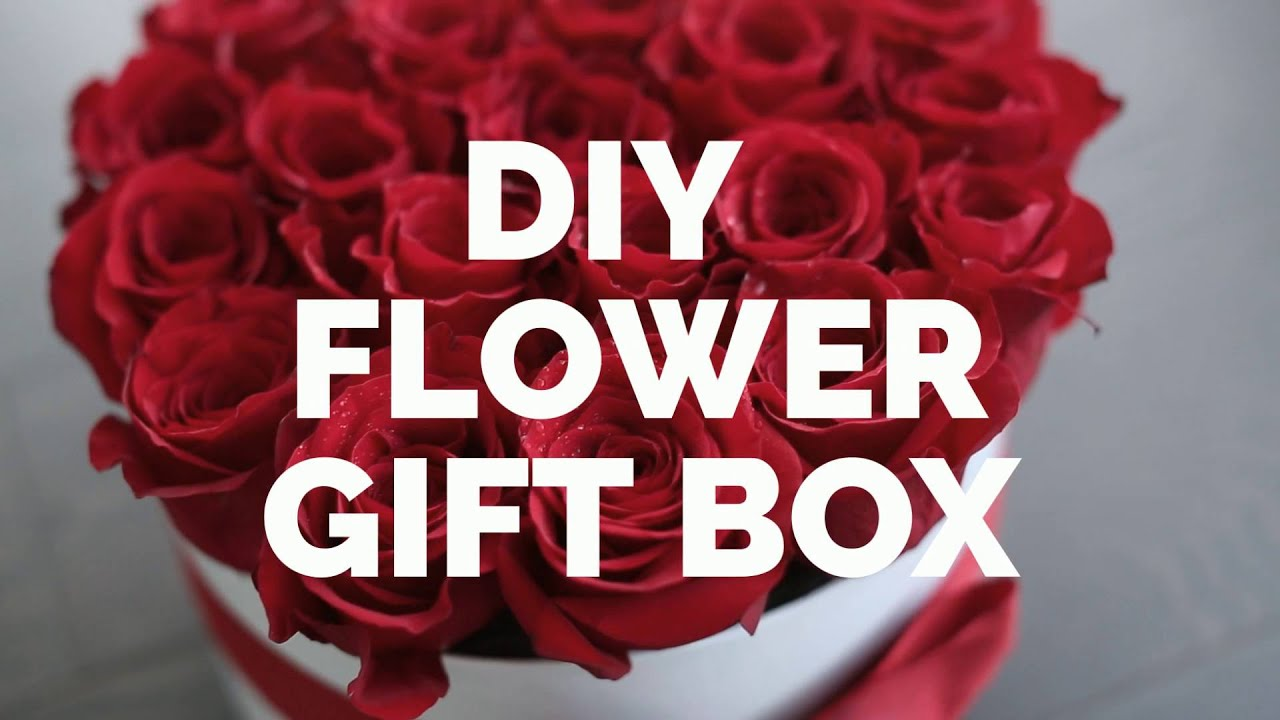 Diy gift box with flowers roses youtube solutioingenieria Image collections