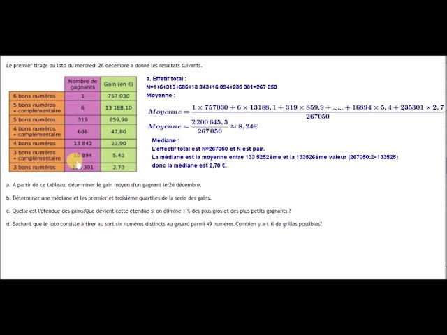 Statistiques et LOTO - Moyenne et médiane - Exercices Maths 3ème