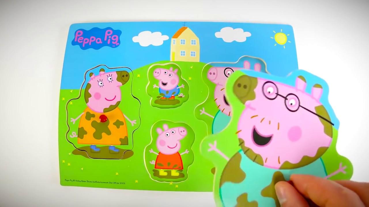Сабираем Пазл Свинка Пеппа, мама свиня, папа свин и джордж ...