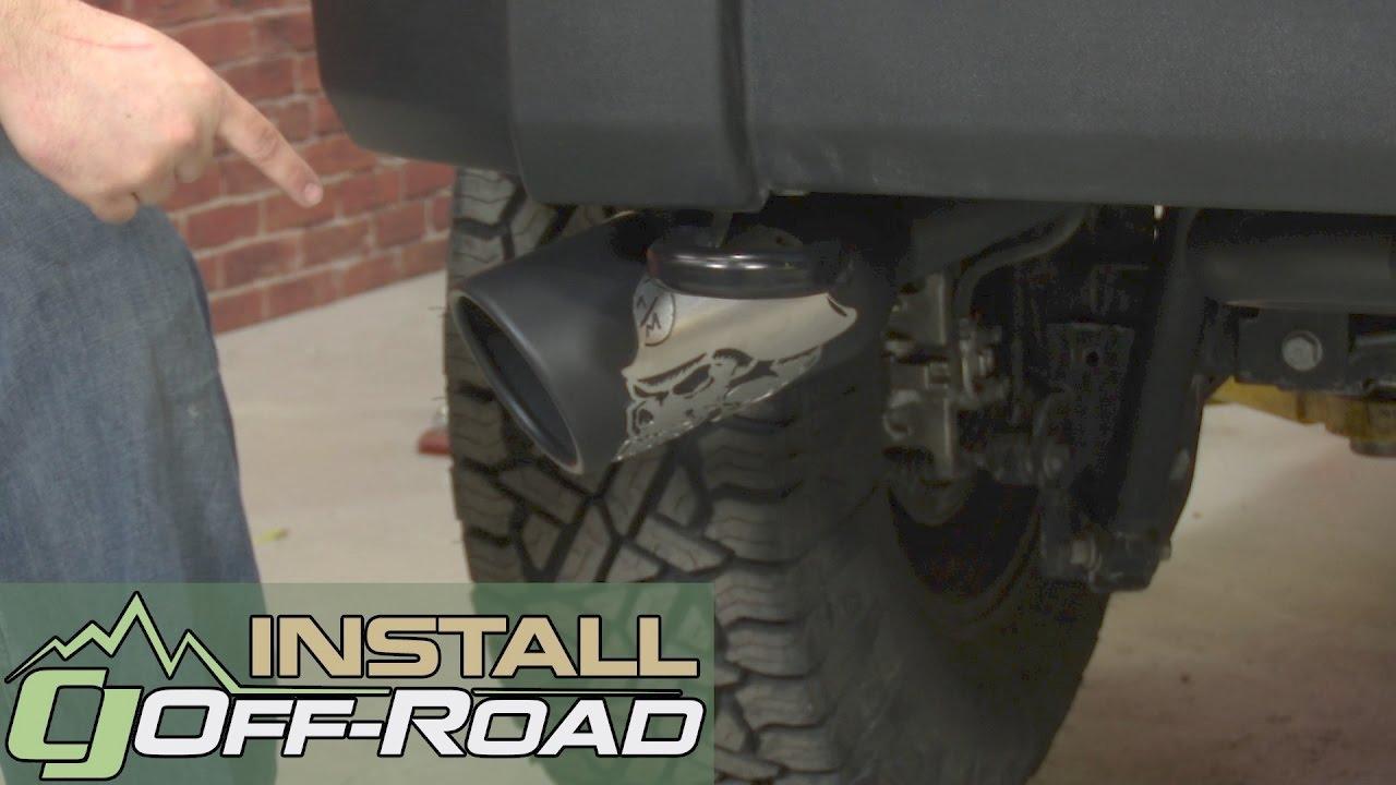 jeep wrangler jk gibson axle back exhaust 2 1 2 metal mulisha dual r w 5 tips 2007 18 installation