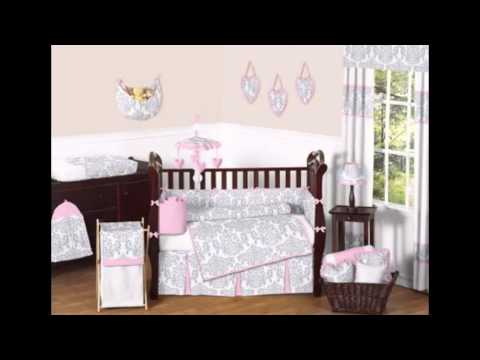 Pink, Gray And White Elizabeth Baby Bedding 9pc Crib Set By Sweet Jojo Designs