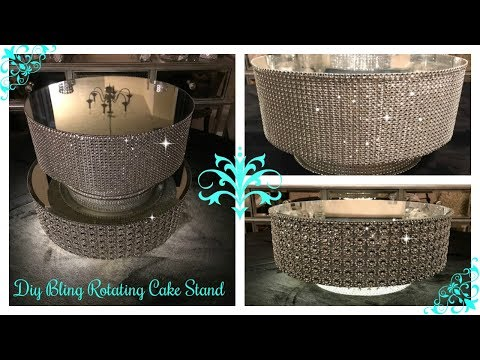 DIY - DOLLAR TREE INSPIRED ROTATING DISPLAY CAKE STAND / ILLUMINATING UPDATED CAKE STAND