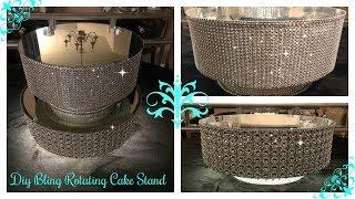 DIY - DOLLAR TREE INSPIRED ROTATING DISPLAY CAKE STAND / ILLUMINATING UPDATED CAKE STAND