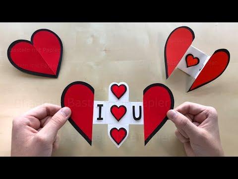 Herz mit Papier basteln mit Botschaft ❤ DIY Geschenke selber machen. Bastelideen