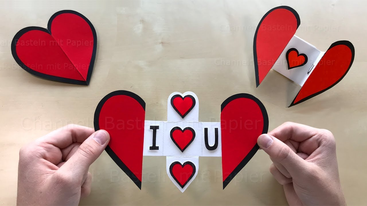 Bastelideen Herz Paper Heart With A Message Using Origami Paper Diy Greeting Cards