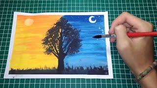 Cara Melukis Sunset dan Cahaya Bulan dengan Cat Air