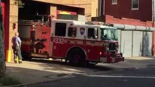 FDNY ENGINE 332 RETURNING TO QUARTERS ON BRADFORD ST. IN EAST NEW YORK, BROOKLYN IN NEW YORK CITY.
