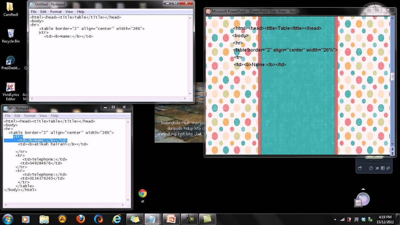 How to create table using html in notepad youtube - Html code for creating table ...