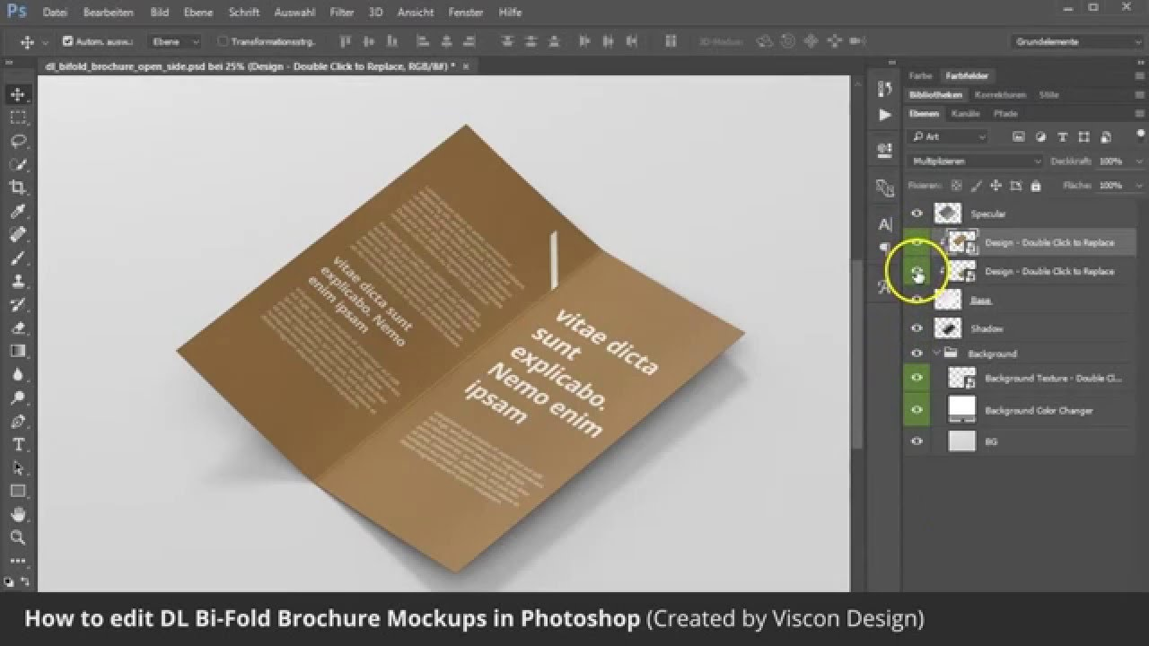 How to edit dl brochure mockups in photoshop by viscon for How to design a brochure in photoshop