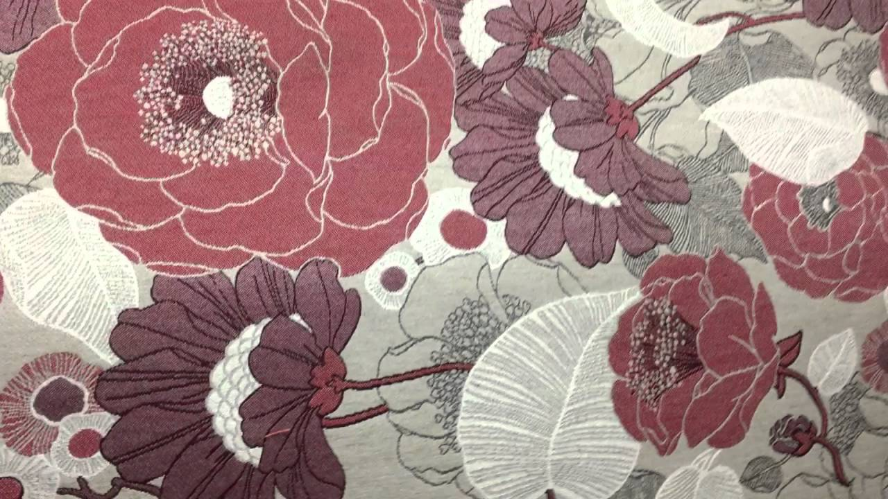 Rose And Red Wine Floral On Gray Woven Tapestry Upholstery Fabric