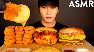 ASMR CHEESY SPICY CHICKEN NUGGETS, CHICKEN SANDWICH, TRIPLE CHEESEBURGER MUKBANG (No Talking)