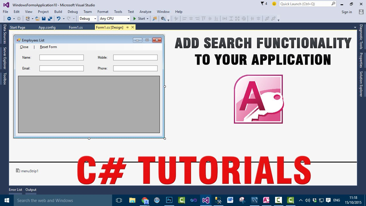 how to add search function access