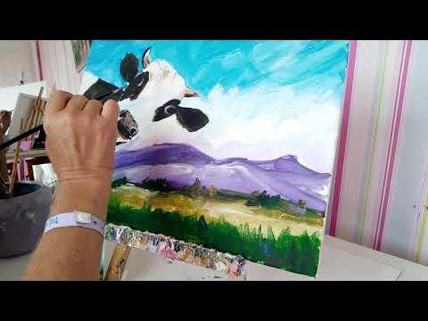 Процесс создания картины Коровка на лугах. Process pictures cow