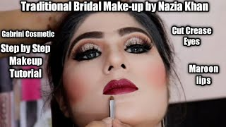 Asian Bridal Traditional Makeup | Barat bridal Makeup tutorial,step by step Glittery Eye Makeup