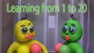 LEARNING FROM 1 TO 20 -In- Play Doh Green Baby Superhero Cartoons For Kids