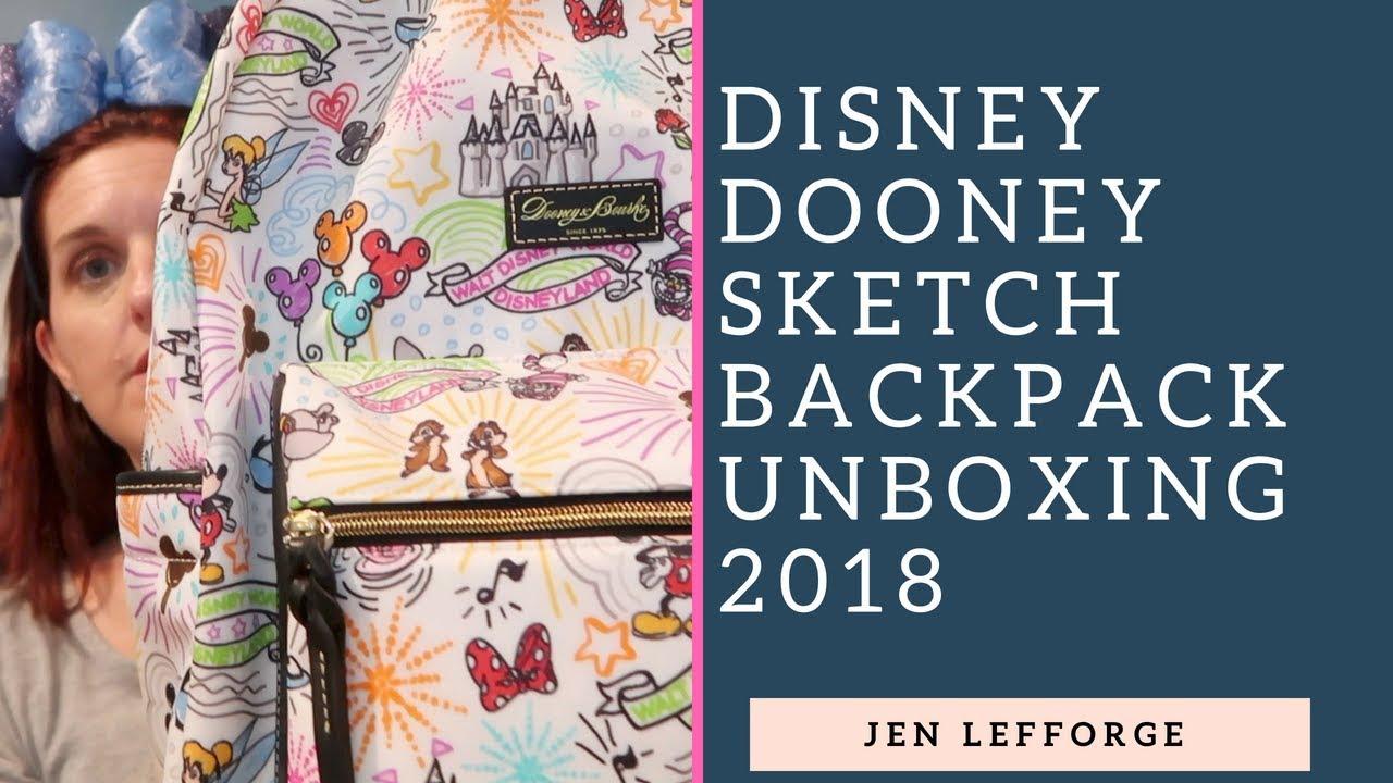 d3ab8ccae0 Dooney Disney Sketch Backpack Unboxing 2018 - YouTube