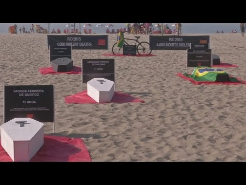 Coffins on Rio de Janeiro beach used to bring attention to violence