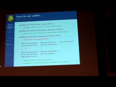 TUG Conference 2013: The Stony Road to Complex Layout