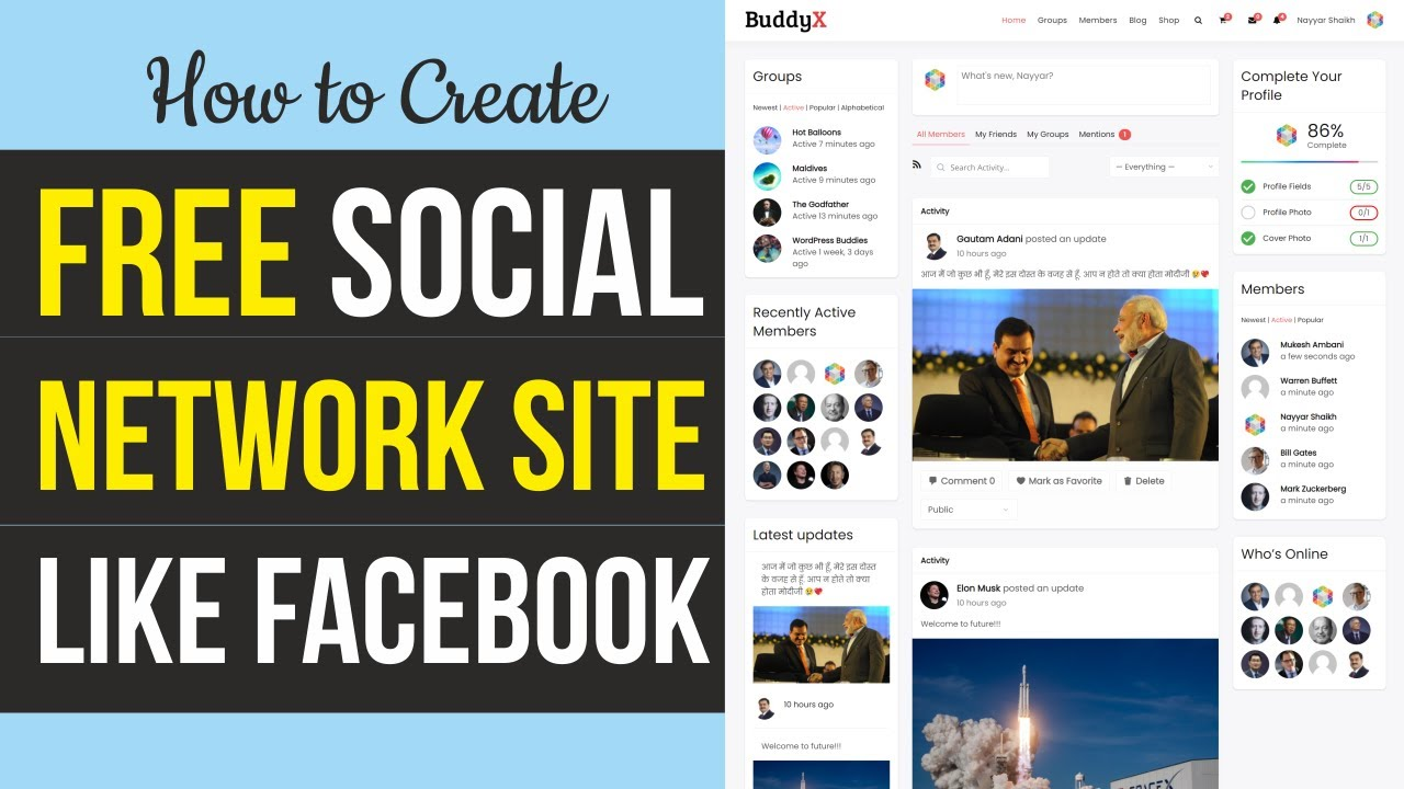 How to Create Social Networking & Community Website like Facebook with WordPress & BuddyX BuddyPress