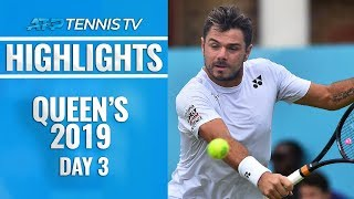 Del Potro & Wawrinka Win In First Round; Rain Halts Tsitsipas   Queen's 2019 Highlights Day 3